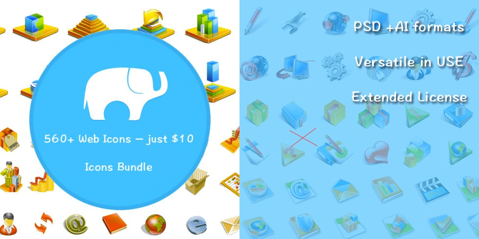 Icons Bundle: 560+ Web Icons