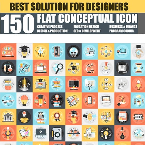Graphics Bundle: 150 Flat Icons + 24 Design Templates  - just $20 - 49018 490x489