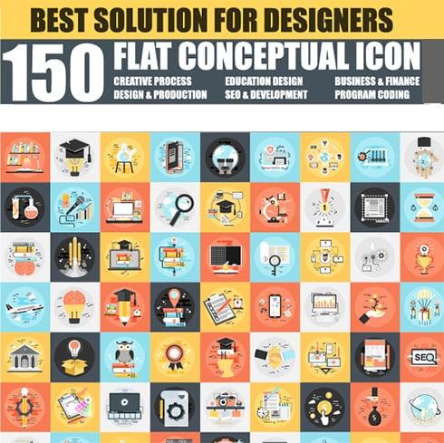 Graphics Bundle: 150 Flat Icons + 24 Design Templates – just $20