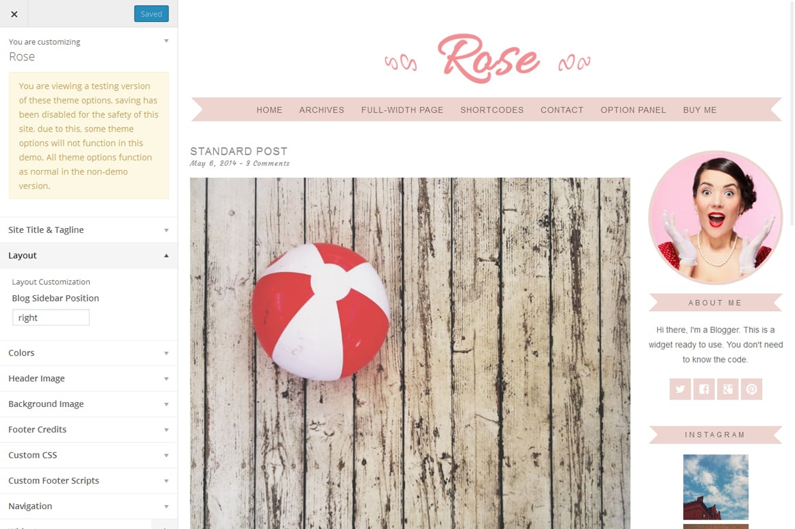 Rose - Feminine WordPress Theme