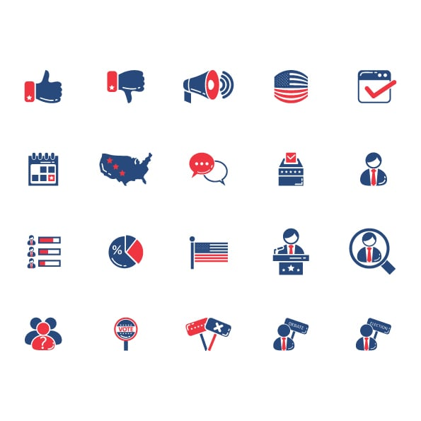 50 packages of icons and badges related to US Election