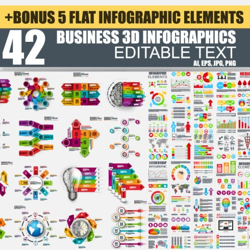42 Business 3D Infographic Elements + 5 Flat Infographics - just $20 - 4901 490x490