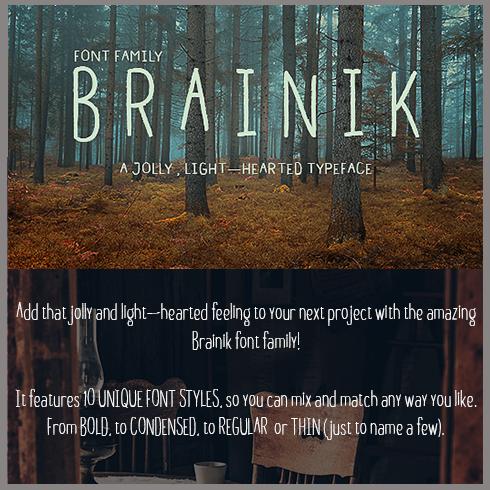 Brainik Font Family main cover image.