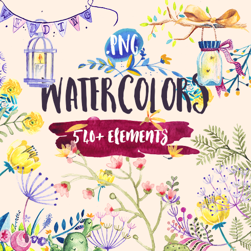 Beautiful Watercolor Collection with 540+ Elements – $24