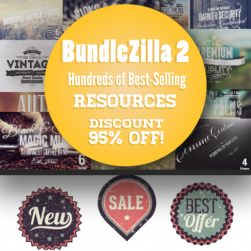 Vintage Logo Template Bundle. Hundreds of Best-Selling Resources for Just $35 - bundlezilla2 490x490 1