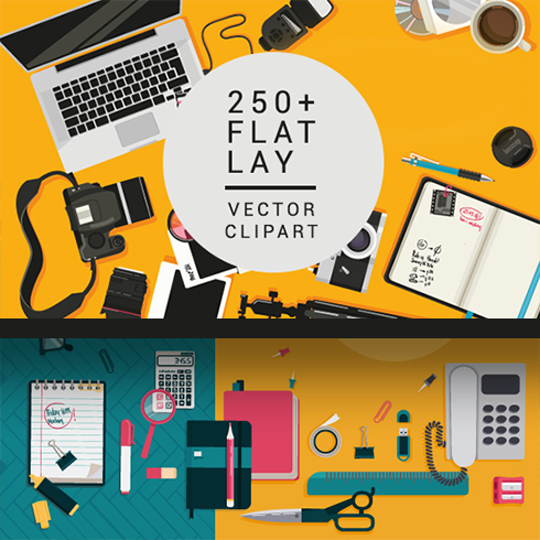 Corporate Vector Illustrations for a Professional Design – Only $19 - flat lay clipart 490x490 1