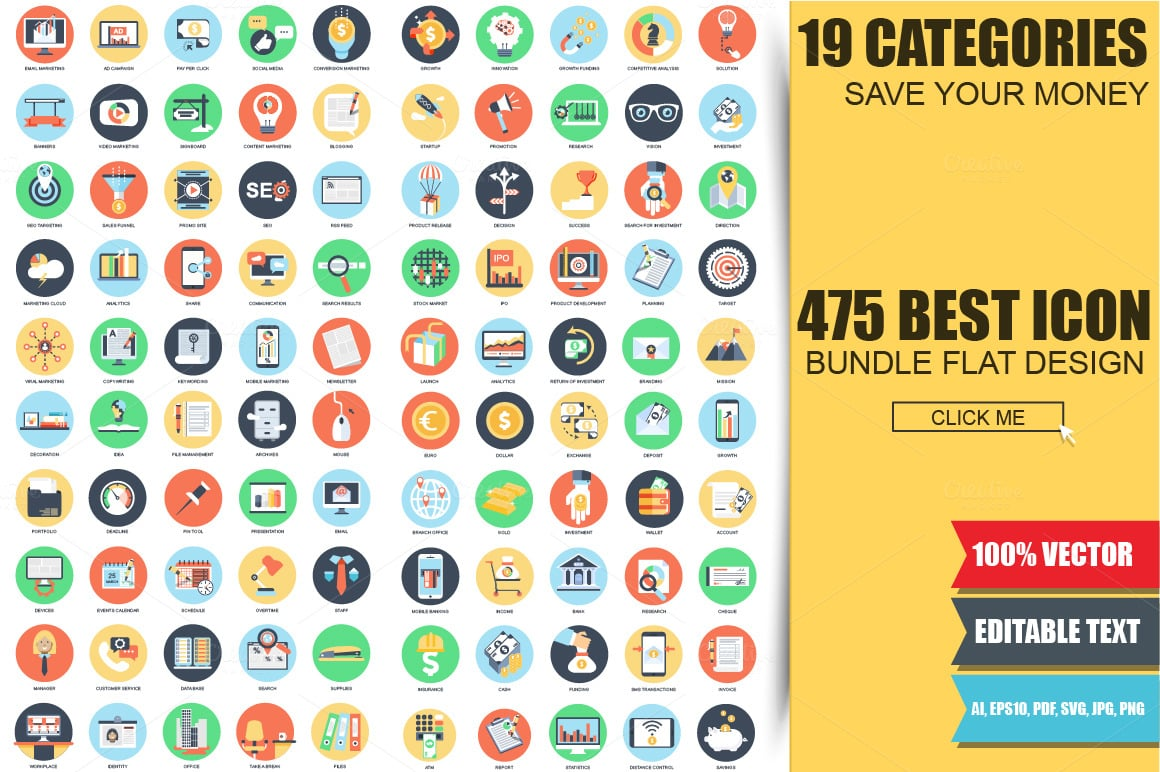 Flat Bundle: 475 Stylish Icons - just $16