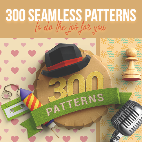 300 Seamless Patterns that Do the Job for You – Only $25 - 300 seamless patterns 490x490 1