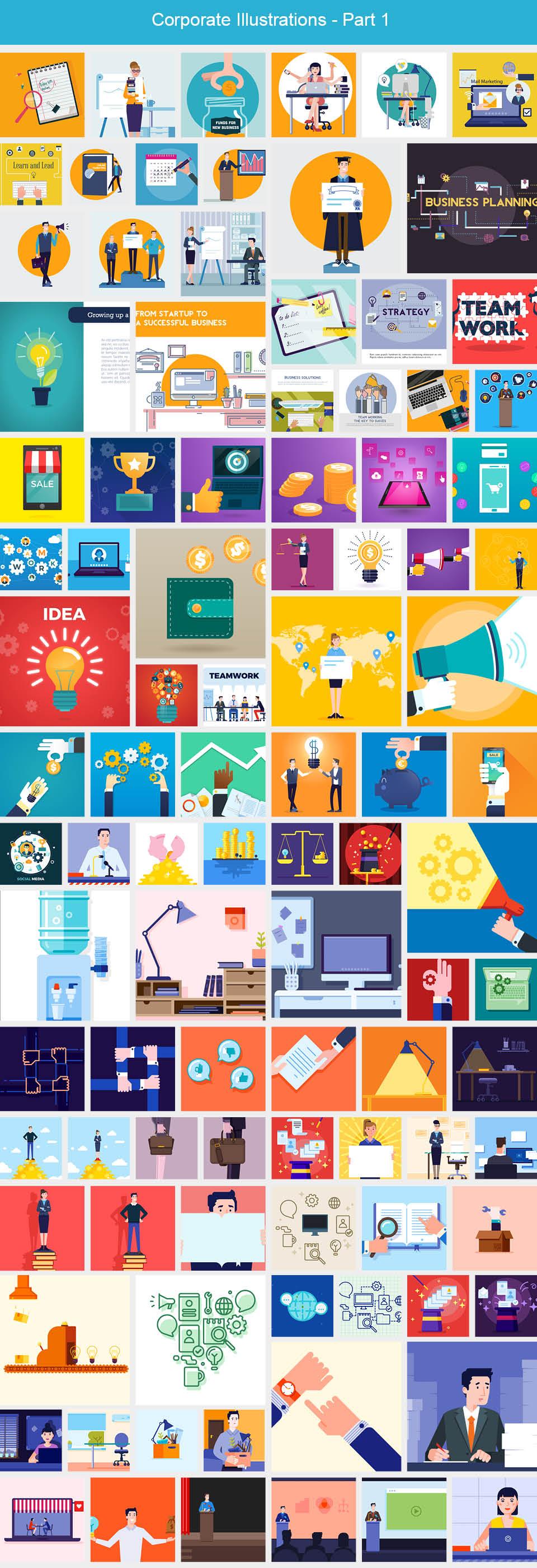 187 Corporate Vector Illustrations