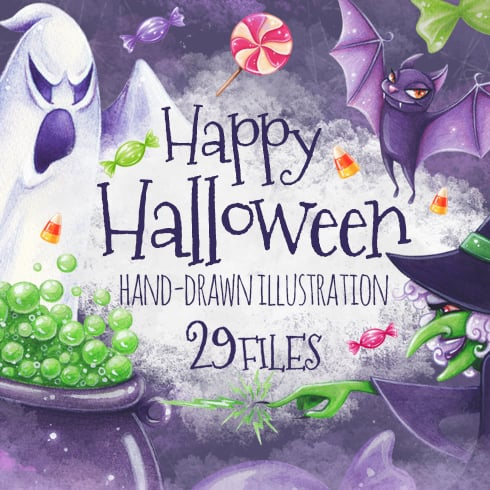 Happy Halloween Bundle: 29 illustrations - just $13 - halloween01