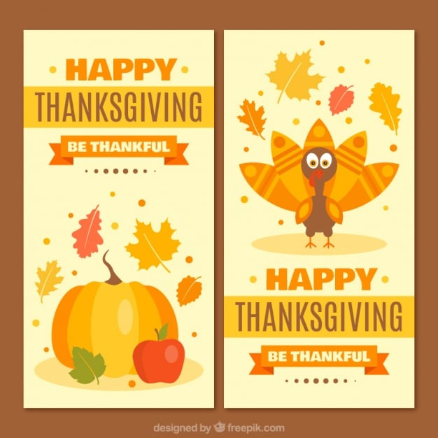 Thanksgiving beautiful banners of with pumpkin and nice turkey