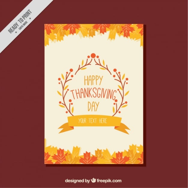 Thanksgiving greeting with dry leaves