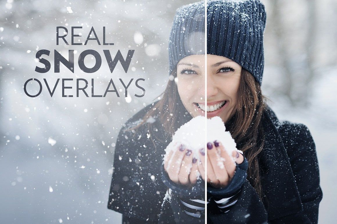 Real Snow Photo Overlays for Photoshop CS4+