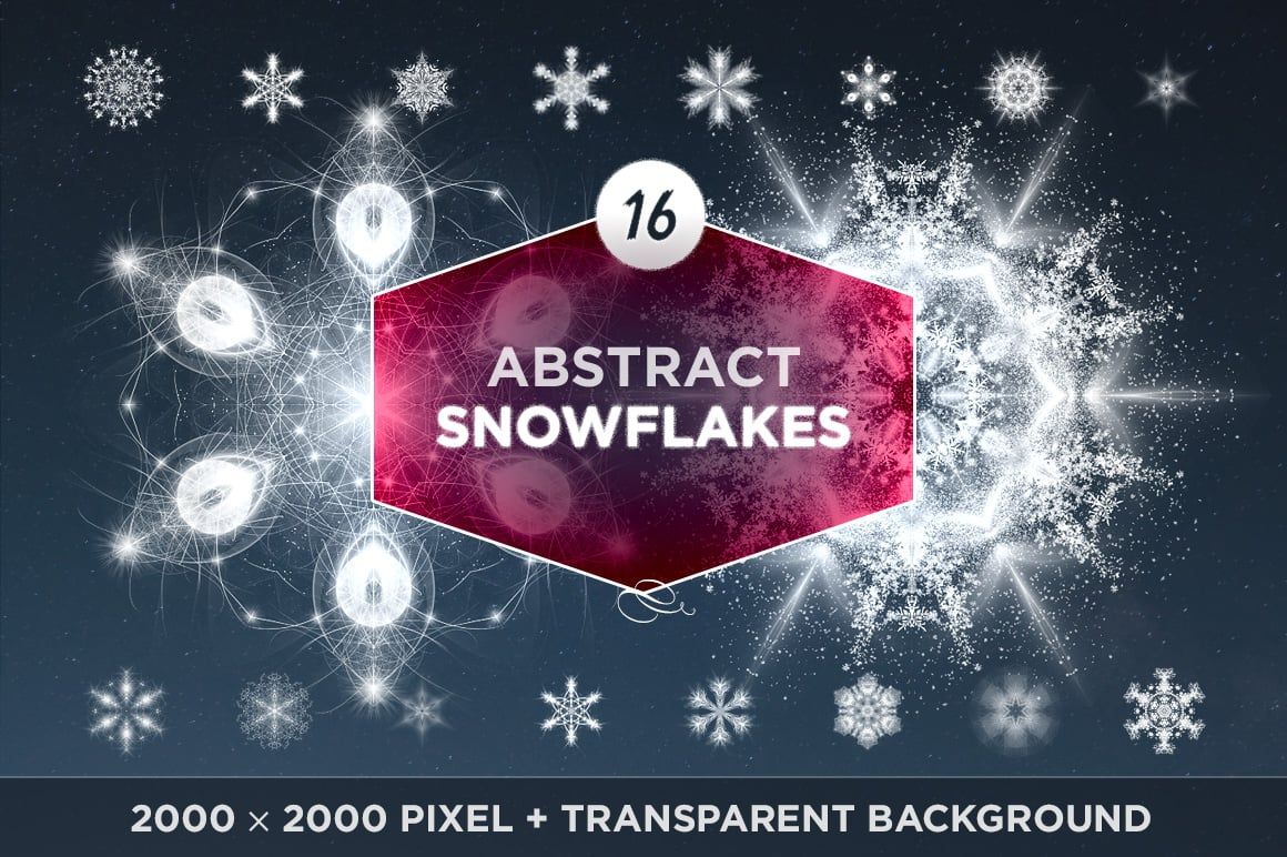 Abstract Snowflakes (16 transparent PNG image files)
