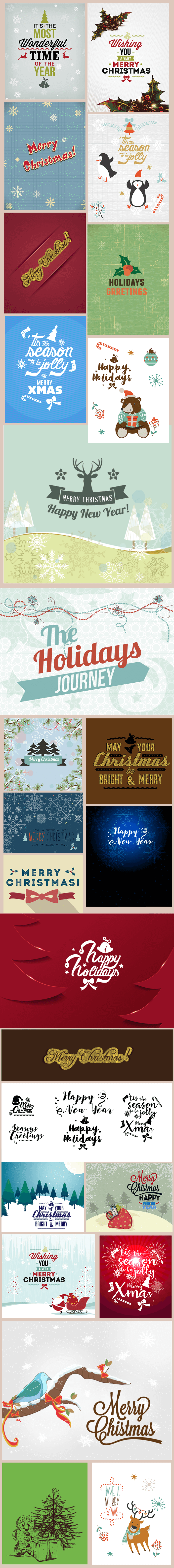 A variety of Christmas cards with different prints and colorful colors.