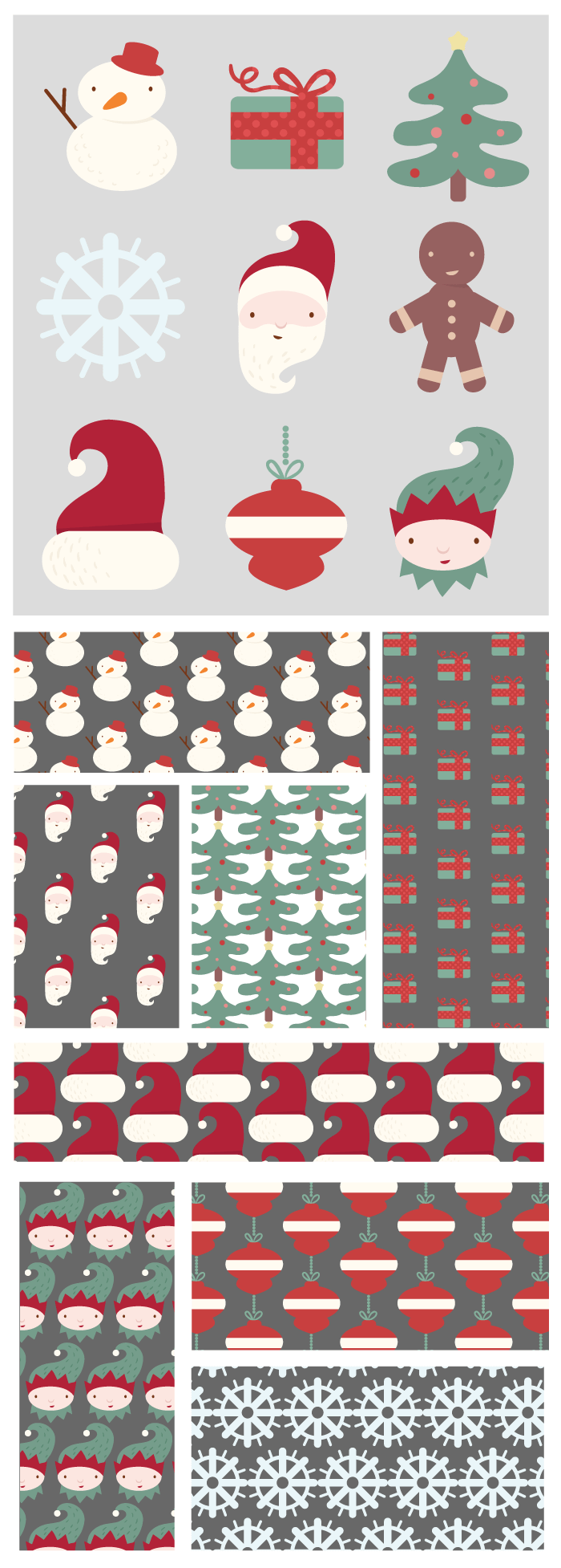 Santa Claus and his helpers in different guises for Christmas.