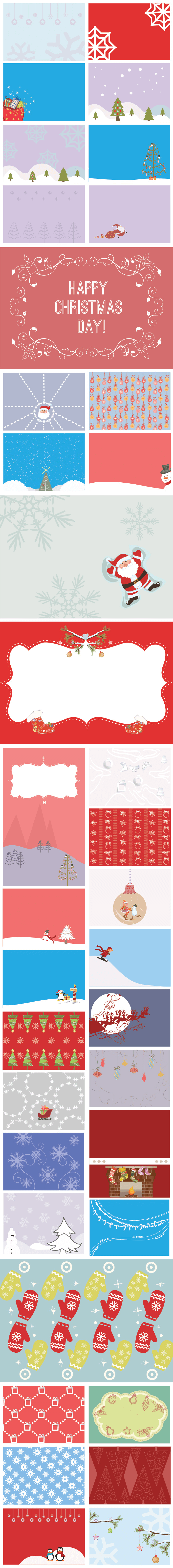 Background winter images with large Christmas trees and snowflakes.
