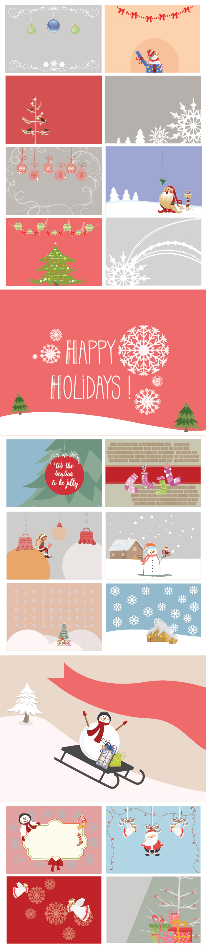 Multicolored backgrounds with large snowflakes and santa claus.