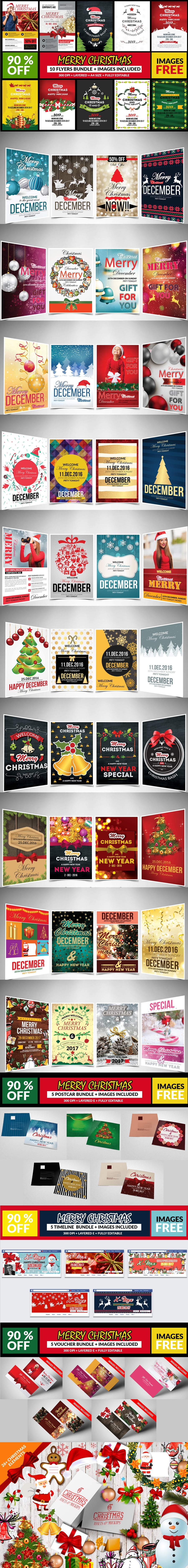 Christmas Bundle: 65 Amazing Templates + 26 Elements