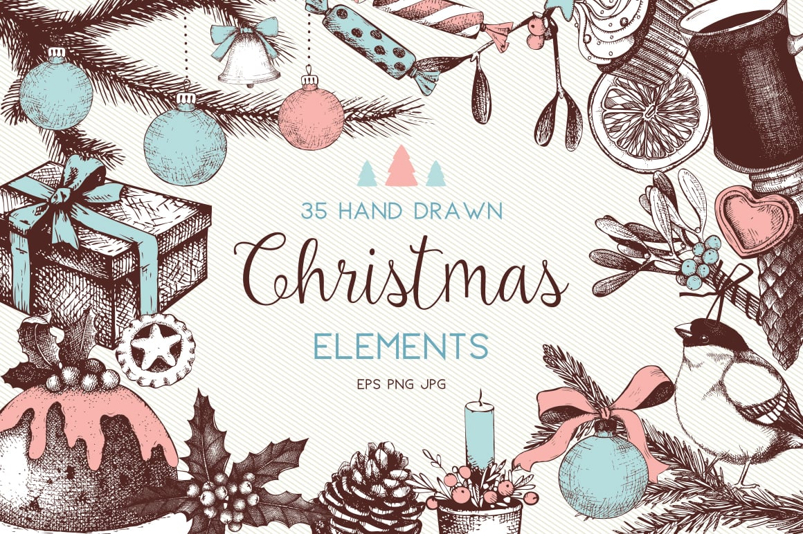 Vector set of vintage Christmas Decoration Elements