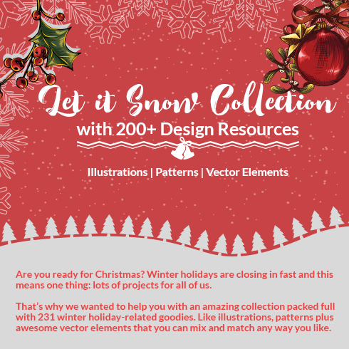 Holiday Mood for $15. Merry Christmas Clipart 200+ Design Resources - let it snow 490x490