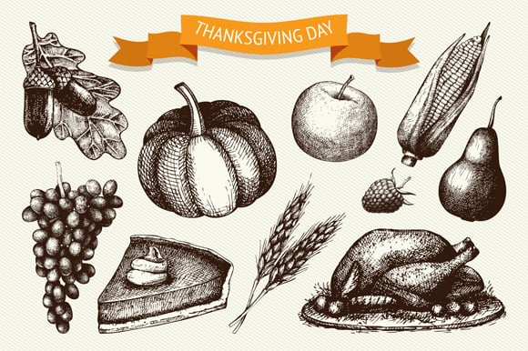 Vector set of vintage Thanksgivig day illustration