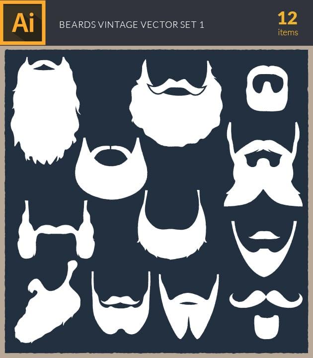 vector-beards-vintage-set1