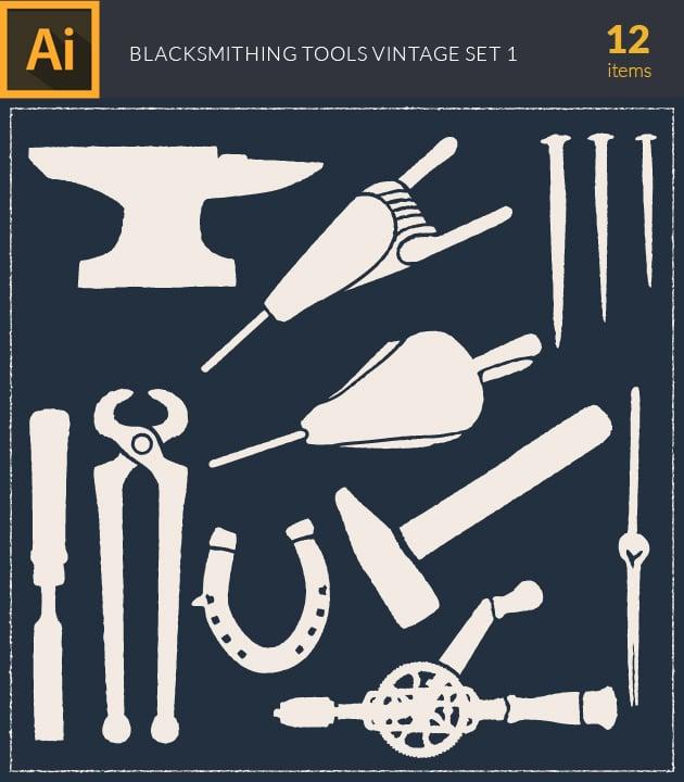 vector-blacksmith-tools-vintage-vector-set1