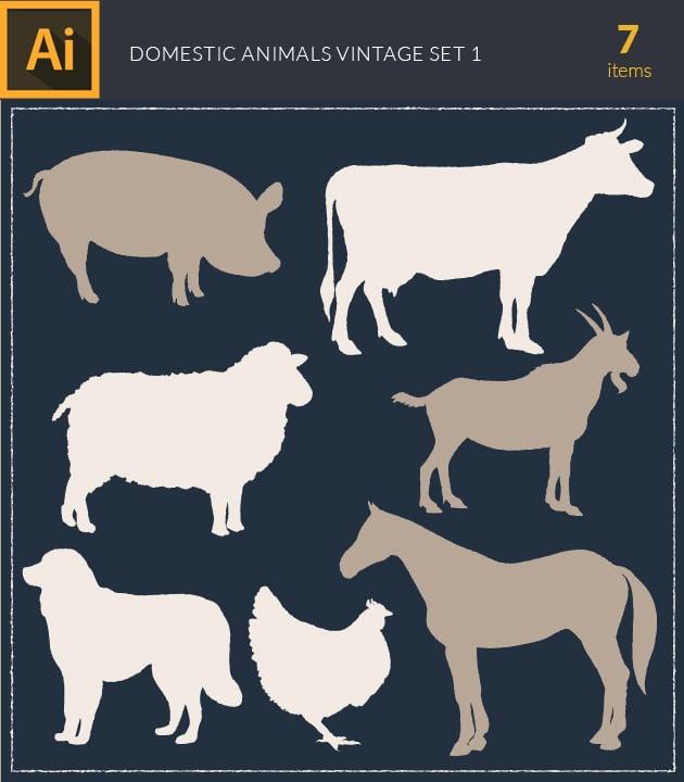 vector-domestic-animals-vintage-vector-set1