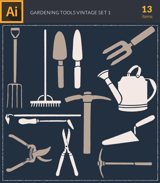 vector-gardering-tools-vintage-vector-set-1