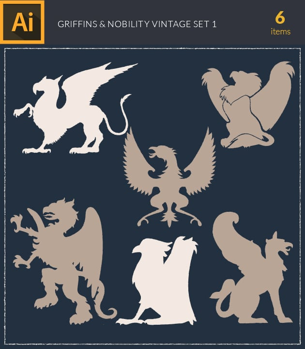 vector-griffins-and-nobility-vintage-vector-set-1