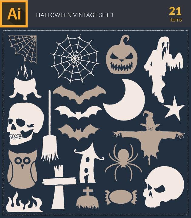 vector-halloween-vintage-vector-set-1