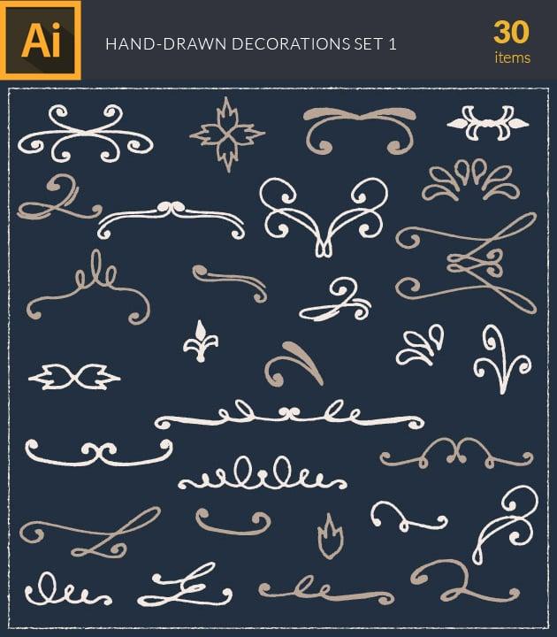 vector-hand-drawn-decorations-2-vintage-vector-set-1