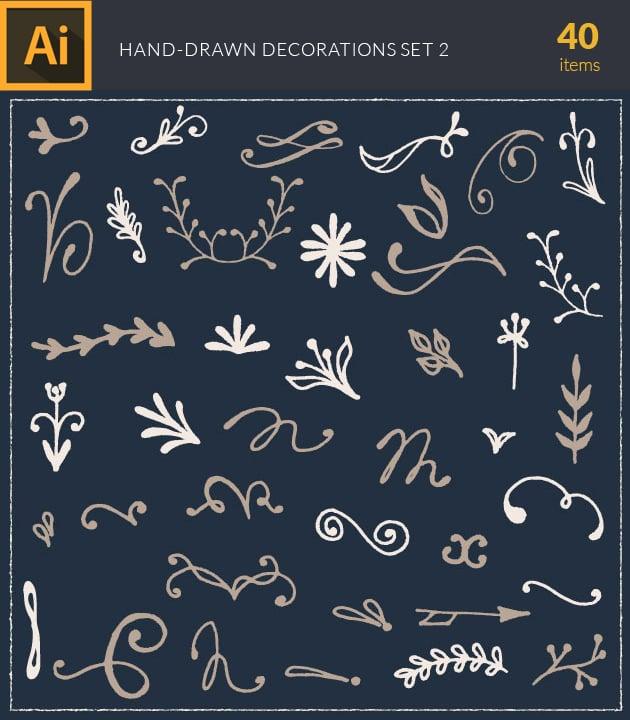 vector-hand-drawn-decorations-vintage-vector-set-2