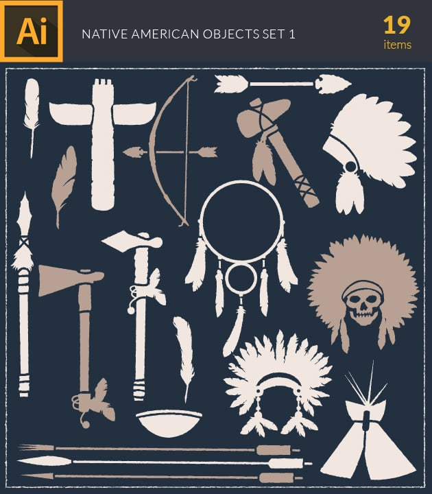 vector-indian-na-objects-vintage-vector-set-1