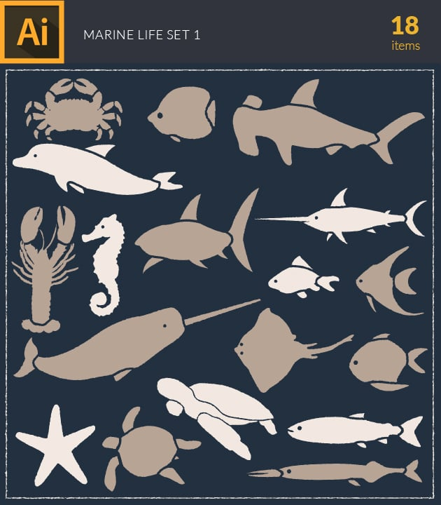 vector-marine-life-underwater-vintage-vector-set-1