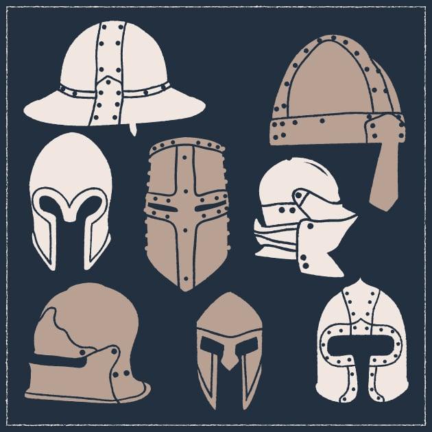 vector-medieval-helmets-vintage-vector-set-1