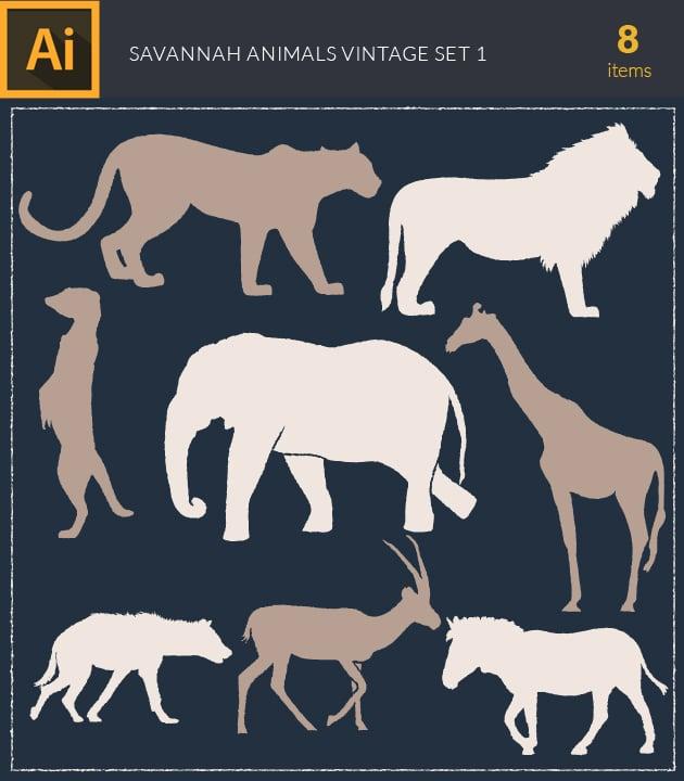 vector-savannah-animals-vintage-vector-set-1