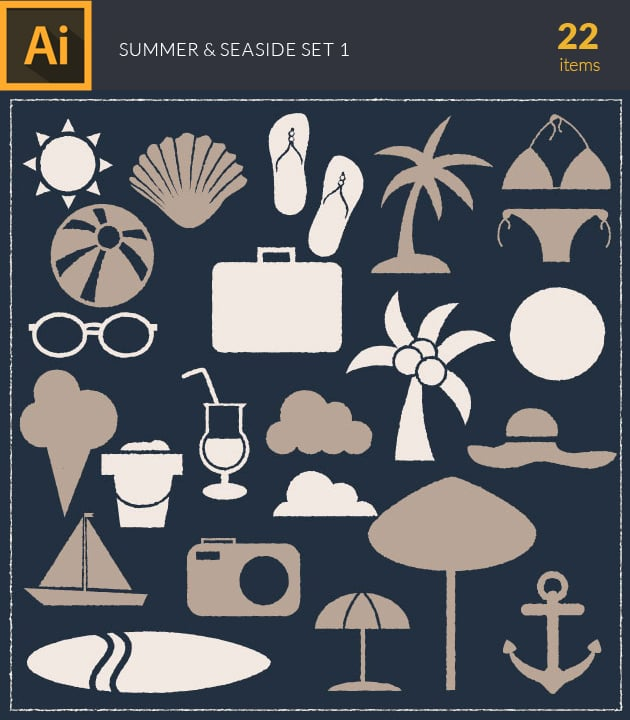 vector-summer-and-seaside-vintage-vector-set-1