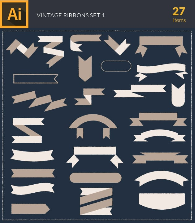 vector-text-ribbons-vintage-vector-set-1