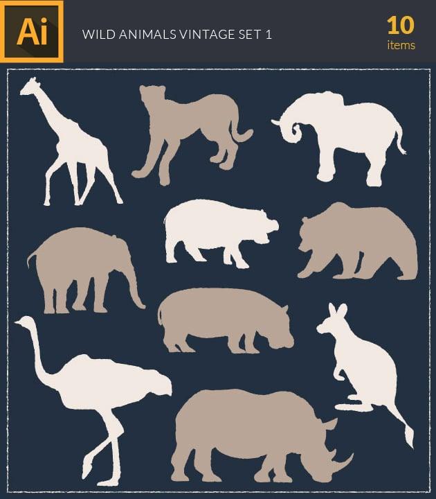 vector-wild-animals-vintage-vector-set-1