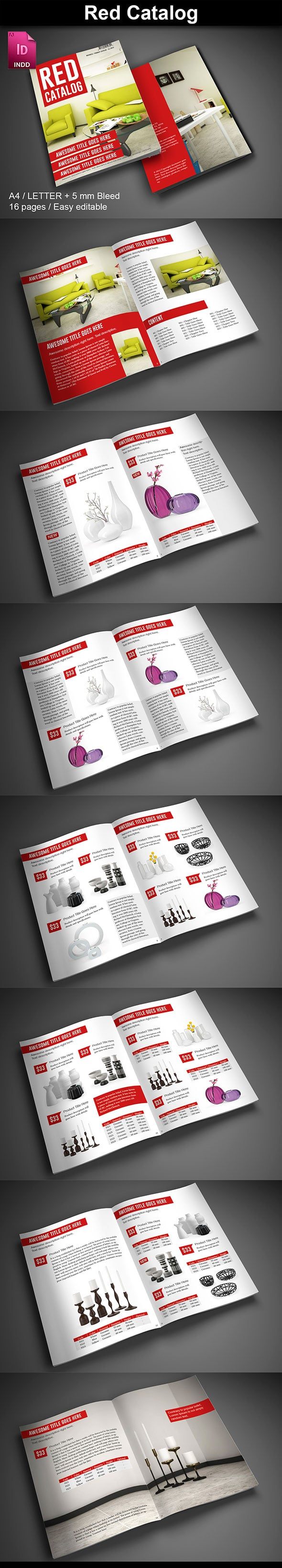 15  InDesign Product Catalogs - just $19 - 01 RedCatalog ImagePreview2