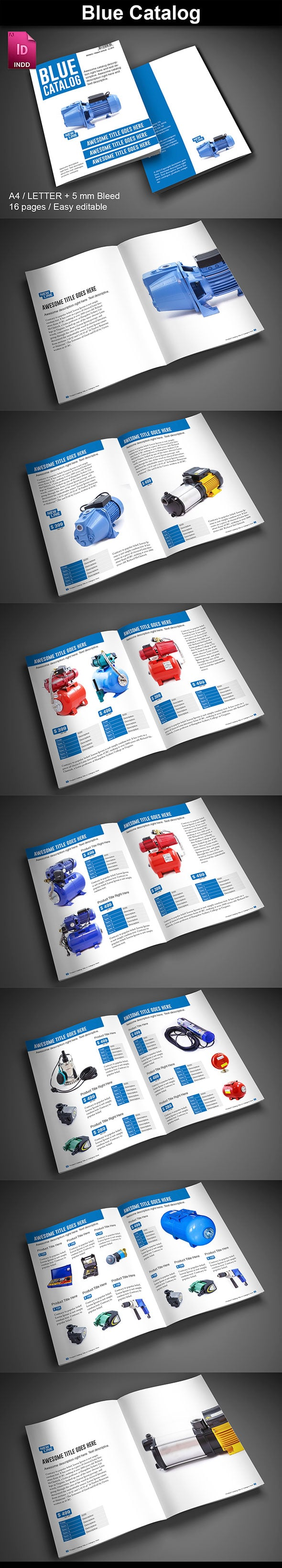 15  InDesign Product Catalogs - just $19 - 02 BlueCatalog ImagePreview2