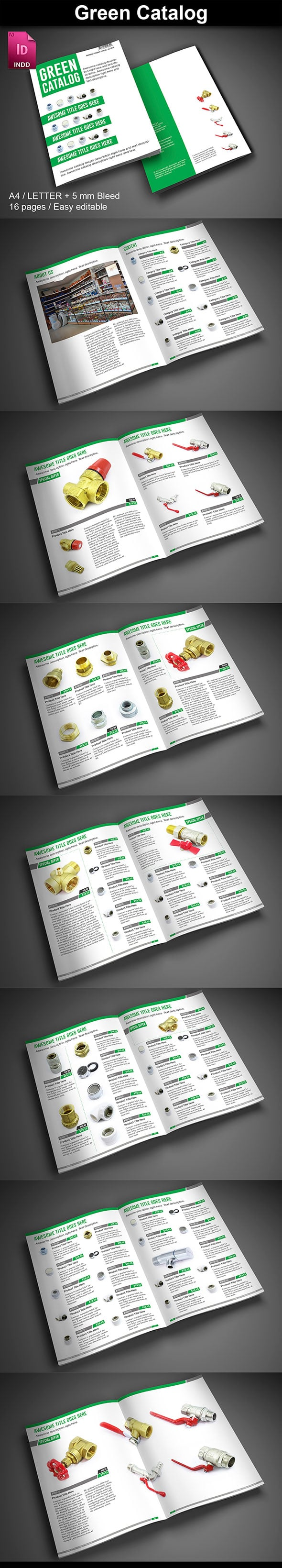 15  InDesign Product Catalogs - just $19 - 03 GreenCatalog ImagePreview2