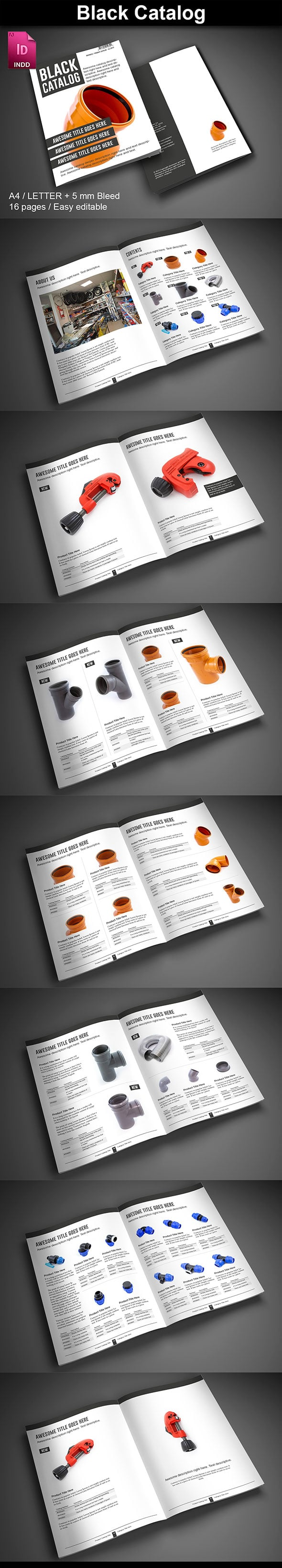 15  InDesign Product Catalogs - just $19 - 04 BlackCatalog ImagePreview2