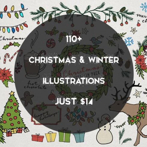 110+ Christmas & Winter Illustrations - just $14 - 499 490x490