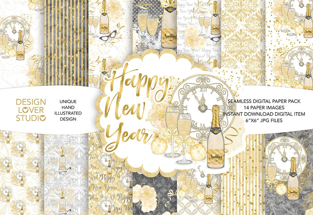 "Watercolor ""Happy New Year"" digital papers"