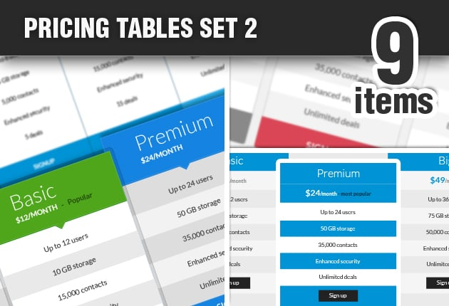 The Web Design Mega Set – Hundreds of Premium Resources for Only $19 - DesignTNT Pricing Tables Set 2 preview small