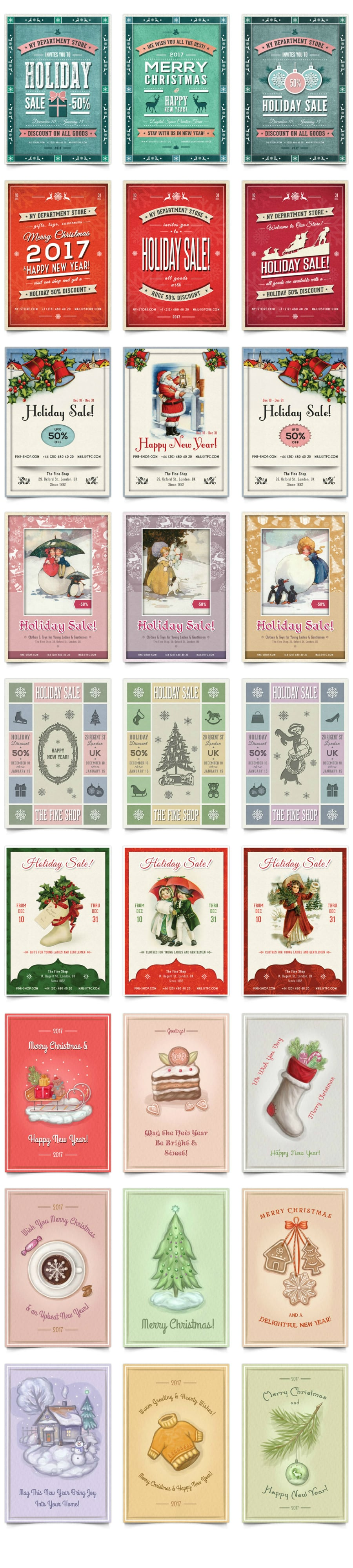 34 Christmas & New Retro Flyers and Postcards Collection - $19 - Long Preview Part 1