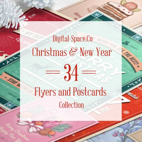 34 Christmas & New Retro Flyers and Postcards Collection - $19 - Main Banner